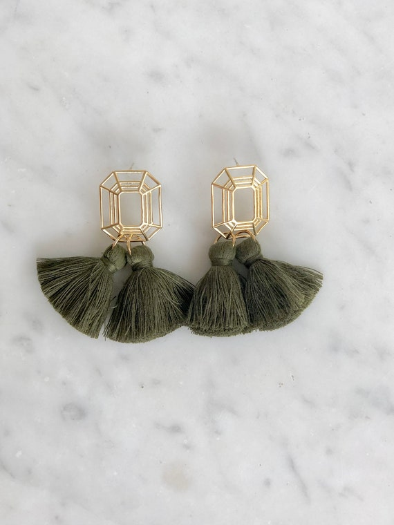 Earbobs - Black or Olive Tassel