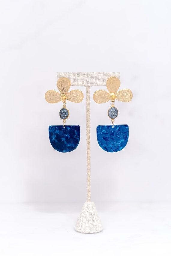 Druzy Earbob - Blue