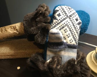 Wool Mitten with Fur cuff