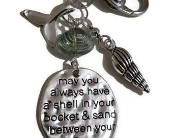 Shell, in Your Pocket, Sand, Between your Toes, Beach, Gift, Conch, Birthday, Mothers Day, Fish, Tail, Key Ring, Bag Dangle, Her, Girl, Teen