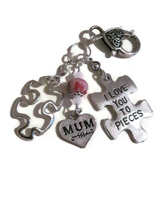Love You to Pieces Keyring Quote Keyring Jigsaw Keyring  e5944ecdbc85