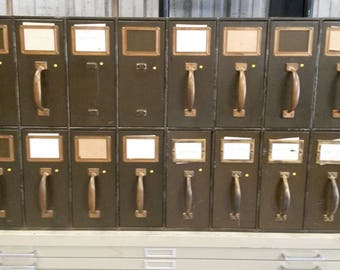 Antique Art Metal Vertical Filing Cabinet, Vintage Vertical Filing Cabinet,  Unique 16 Drawer Cabinet, Dark Green Finish,** Local P/U Only**