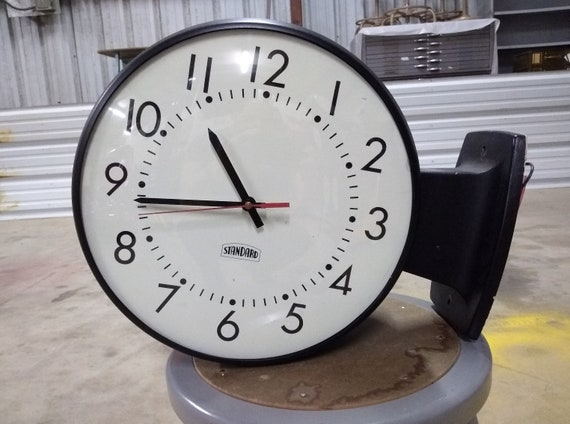 Vintage Old Wall Clock, 2-Sided for Hallways, Steel & Aluminum Construction, on