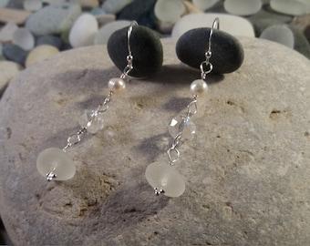 Clear Seaham Sea Glass, Freshwater Pearl, Crystal Drop Earrings, Sterling Silver Hooks & Pins/Wire, Handmade, Genuine Seaglass, Wedding