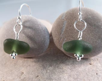 Dark Green Seaglass Drop Earrings, Sterling Silver Earhooks and Headpin, Genuine Seaglass,  Valentine's / Birthday Gift, Handmade