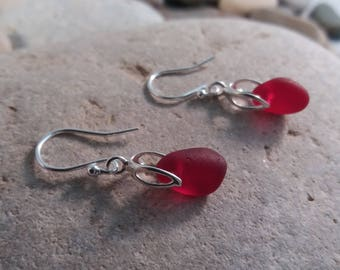 Deep Red Seaglass Drop Earrings, Sterling Silver Bail & Hooks, Genuine Seaglass,  Valentines Gift, Birthday Gift, Handmade
