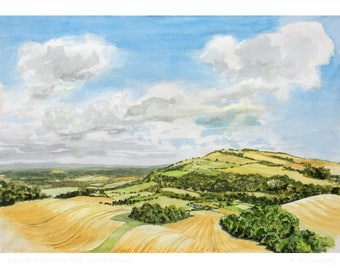 A6 card - View to Rackham Hill, South Downs