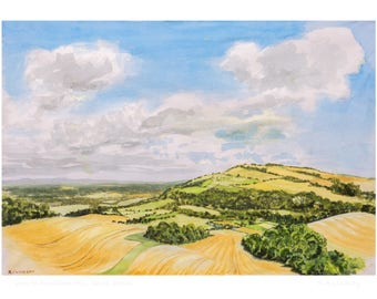 A5 card - View to Rackham Hill, South Downs