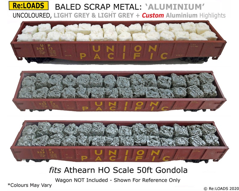 Crushed Baled Scrap Metal ALUMINUM  ALUMINIUM Loads for Athearn HO Scale 50 Foot Gondola