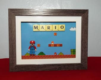 Mario custom mini figure with Scrabble tiles in a frame