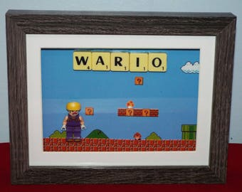 Wario from Mario Video Game series custom mini figure with Scrabble tiles in a frame