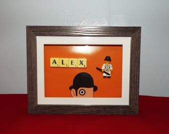 Alex from A Clockwork Orange custom figure frame with scrabble tiles
