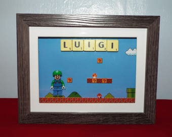 Luigi from the Mario video game series custom mini figure with Scrabble tiles in a frame