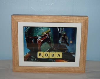 Star Wars Custom Boba Fett mini figure Frame with Scrabble tiles