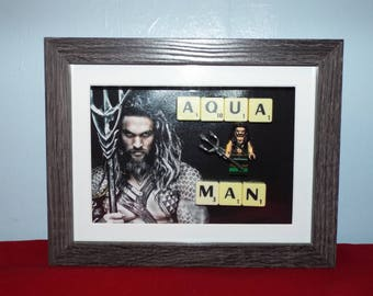 Aqua Man Custom mini figure with scrabble Tiles in a frame