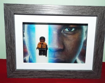 Star Wars Custom Finn mini figure Frame great for hanging on the wall