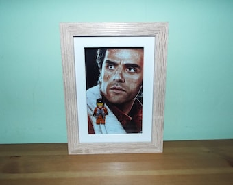 Star Wars Custom Poe mini figure Frame great for hanging on the wall
