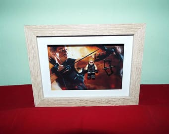 Hawkeye Jeremy Renner Custom mini figure in a frame. Great Wall Decor