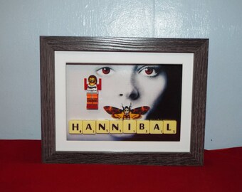 Hannibal Lecter played by Anthony Hopkins in the Silence of the Lambs custom mini figures frame with scrabble tiles