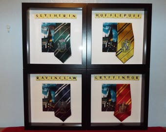 Hogwarts school ties from Harry Potter, Gryffindor, Slytherin, Hufflepuff, Ravenclaw with scrabble tiles in a frame