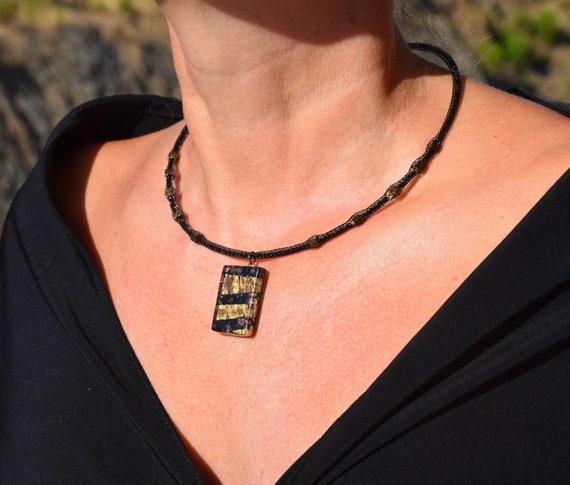 76d2adf9170 Perles déclaration collier Murano Verre collier noir perle collier verre  pendentif collier Unique personnalisé femme bijoux tendances cadeau  maintenant