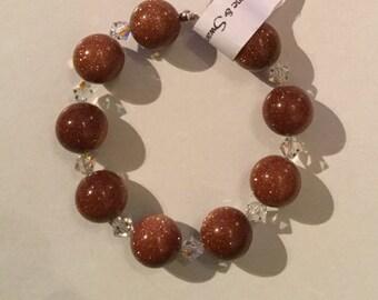 Brown Goldstone and Swarovski Crystal Sterling Silver Bracelet