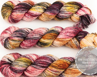 DYED TO ORDER temptation hand dyed yarn sock yarn speckled yarn merino wool 4ply fingering weight red black 100g