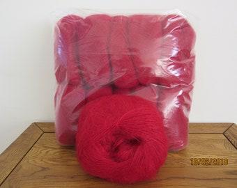 Claret Red Mohair Yarn Mohair/Wool/Nylon 82/9/9 500g (10x50g balls)