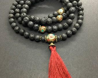 Fire Energy Japa Mala Necklace - Tibetan Inlay Beads Chain - Red Tassel 108 Beads Mala - Volcanic Lava Stone Long Necklace - Buddhist Mala