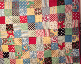 New Handmade Quilt, 100% Cotton and Batting , Picnic Quilt , Lap Quilt,  Recliner Quilt , Novelty Cherry Designs , Gift , Mother's Day