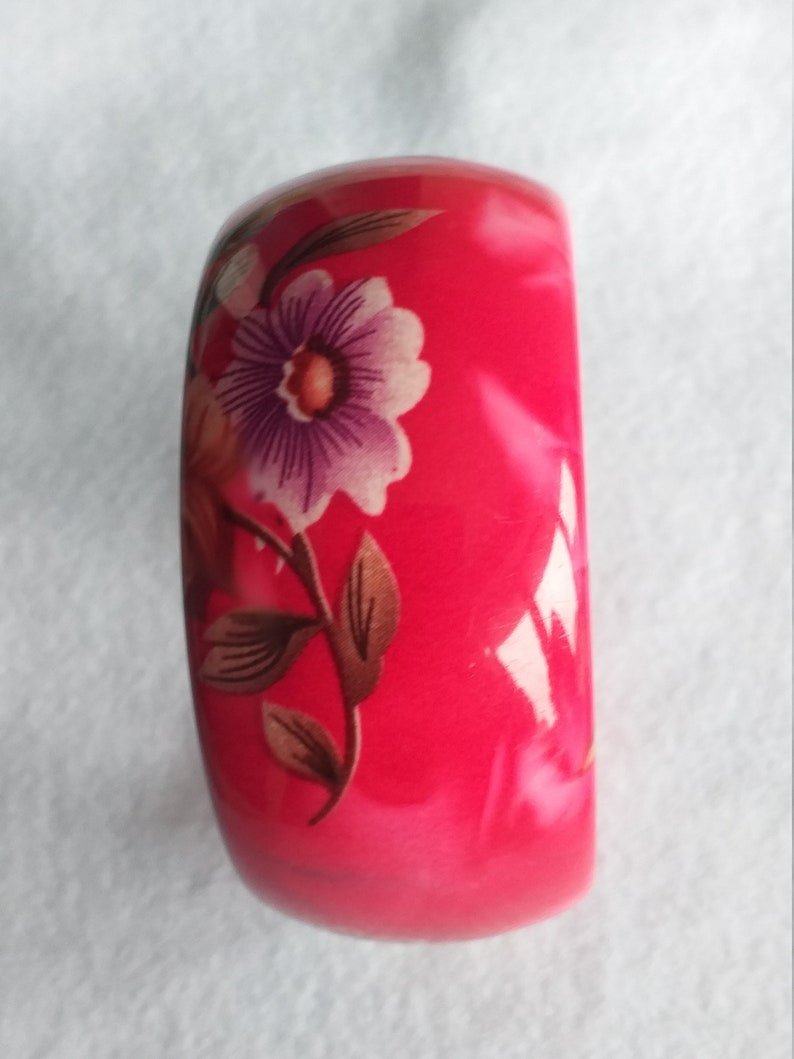 Vintage Pink Flower Floral Lucite Bangle Jewellery Jewelry