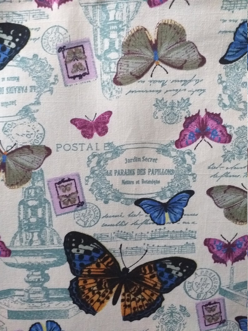 Handmade Butterfly Tote Market Shopping Bag Light Weight Cotton Canvas Ivory 15 x 15 34