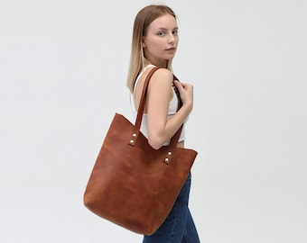 Women Leather Tote Bag, Large Leather Shopper Bag, Shoulder Women Leather Bag, Brown Leather Handbag Tote, Monogram Women Leather Bag