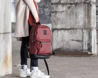 Zipper canvas backpack, backpack waxed canvas, leather backpack, red backpack, backpack waterproof, women backpack, rucksack zipper