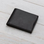 Perforated Wallet, Leather Bifold, Black Wallet, Bilfold, Mens Personalized Wallet, Card Holder, Engraved Mens Wallet, Monogram Wallet