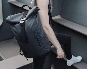 Roll Top Backpack, Grey Roll Top Backpack, Men Canvas Leather Backpack, Backpack Men Personalized, Travel Rucksack Laptop Waterproof Bag