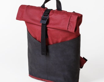 Womens Backpack, Roll Top Backpack, Laptop Backpack, Roll Top, Backpack, Canvas Backpack, Travel Backpack, Black Backpack, Hiking Backpack