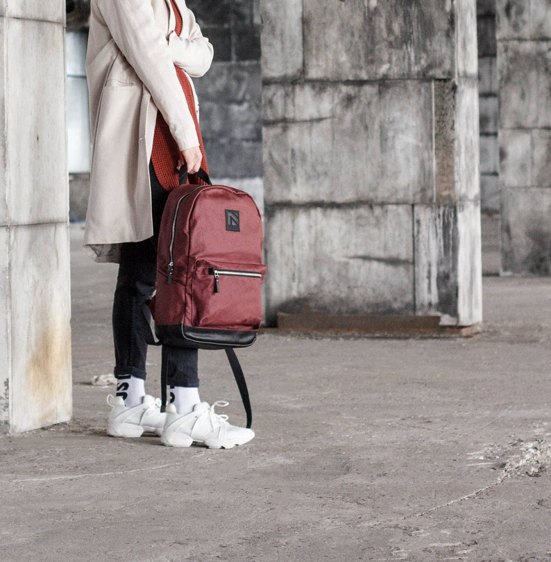 Zipper canvas backpack backpack waxed canvas leather image 0