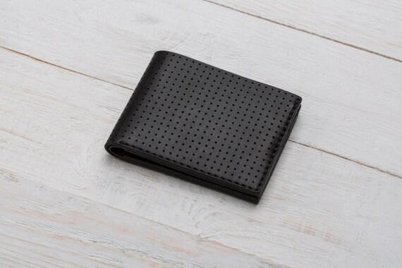 1538262b7424 Perforated Wallet, Leather Bifold, Black Wallet, Bilfold, Mens Personalized  Wallet, Card Holder, Engraved Mens Wallet, Monogram Wallet