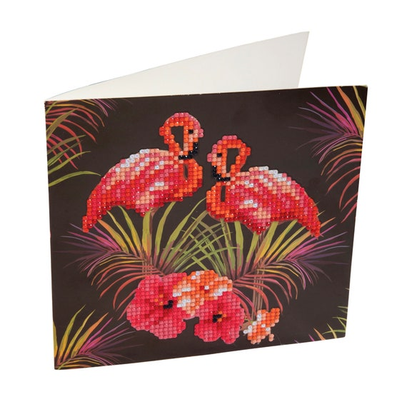 Crystal Art Diy Greeting Card Kit Pink Flamingos Crystal Etsy