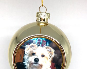 Personalised Christmas Bauble Ornament Glass Decoration for Tree, Photograph Gift, Custom First Christmas, Pets, Corporate, Logos, children