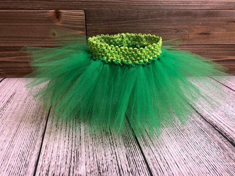 Tutu Skirt Newborn  Lime Waistband W/ Green Tulle image 0
