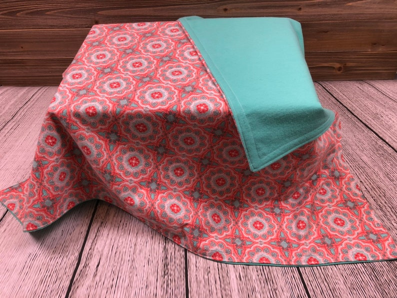 Double Sided Flannel Baby Blanket  Peach & Turquoise Paisley image 0