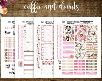 Coffee And Donuts   2017 Big Happy Planner   Printable Planner Stickers   Planner Printables   Coffee   But First Coffee   Printables