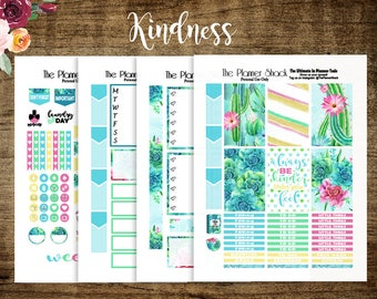 Kindness // 2017 Big Happy Planner // Printable Planner Stickers // Cactus // Succulents // Printables // Summer // Planner Stickers