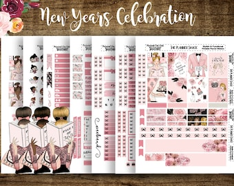 New Years Celebration| Erin Condren | Printable Planner Stickers | Planner Printables | Cut Files | New Years | DIY Stickers | Printable