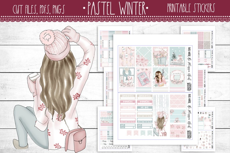 Pastel Winter  Erin Condren  Printable Planner Stickers  image 0