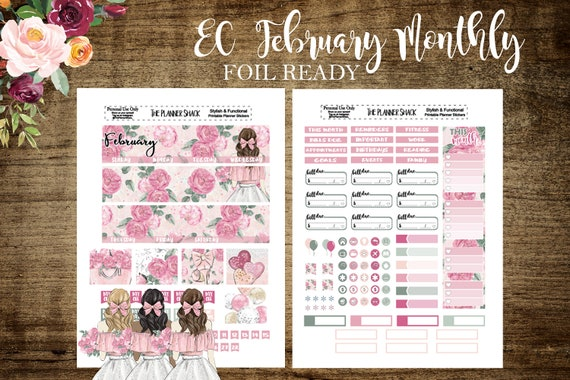 FOIL READY   Erin Condren February Monthly   Printable Planner Stickers    Planner Printables   Cut Files   Valentines Day   February