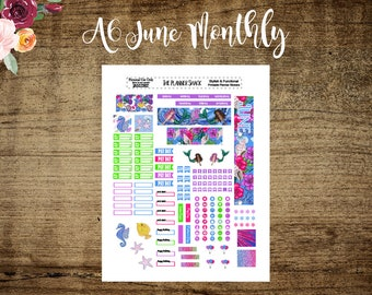 A6 Tn June Monthly Layout | Printable | A6 TN | June Monthly | Printables | Annie Plans Printables | Travelers Notebook | St Patricks Day