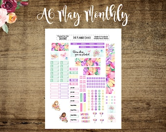A6 Tn May Monthly Layout | Printable | A6 TN | May Monthly | Printables | Annie Plans Printables | Travelers Notebook | Monthly View |Floral